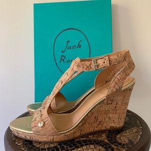 Jack Rogers Gold and Cork Wedge Sandal